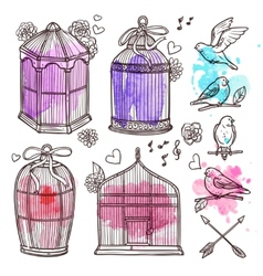 Cages And Birds Set vector image