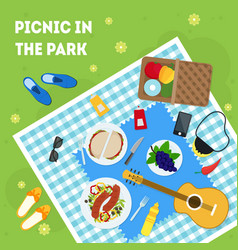 cartoon summer picnic in park basket card poster vector image