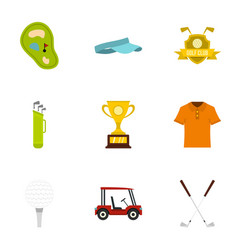 Championship golf icons set flat style vector