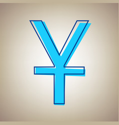 chinese yuan sign sky blue icon with vector image