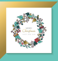Christmas and new year hand drawn holiday wreath vector