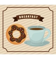 Coffee mug and donut icon Breakfast design vector