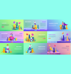 Collection website templates on finance vector