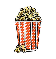 color crayon stripe image cartoon popcorn in vector image