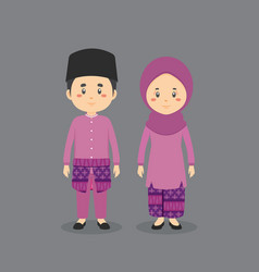 Couple character wearing brunei traditional dress vector