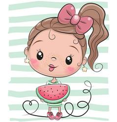 Cute cartoon girl with watermelon vector