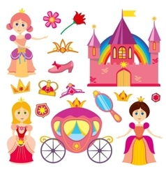 Cute fairytale princess pink carriage crown vector