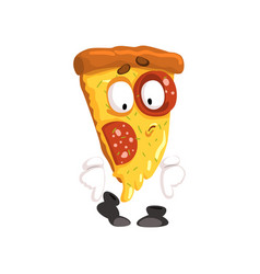 Cute slice of pizza funny cartoon fast food vector