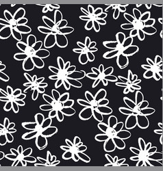 daisy chalk flowers hand drawn seamless pattern vector image