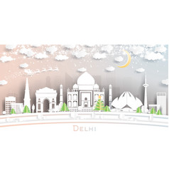 Delhi india city skyline in paper cut style with vector