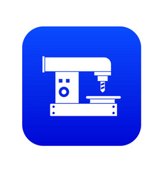 Drilling machine icon digital blue vector