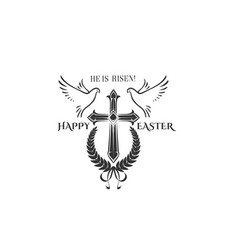 Easter cross crucifix and flying doves vector
