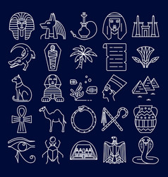 egypt icons set in line style on dark background vector image