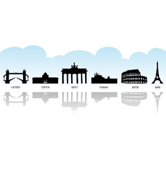 European landmark icons vector