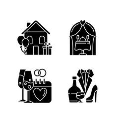 Family celebration black glyph icons set on white vector