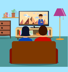 family man and women watching tv daily news vector image