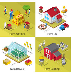 Farm concept 4 isometric icons square vector