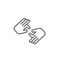 Finger language line icon vector