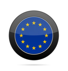 Flag of european union shiny black round button vector