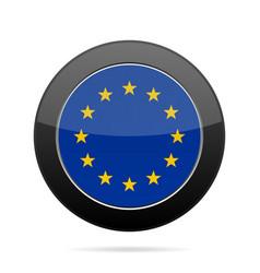 flag of european union shiny black round button vector image