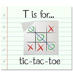 Flashcard letter T is for tic tac toe vector