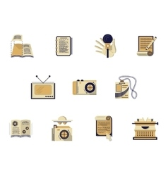 Flat color icons for media publishing vector image