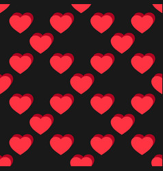 Flat hearts seamless pattern red and black sexy vector
