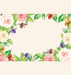 Floral frame flowers leaves white background vector
