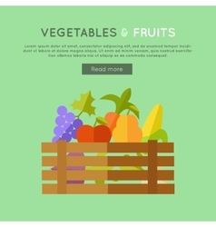 Fruits Vegetables Banner in Flat Design vector image