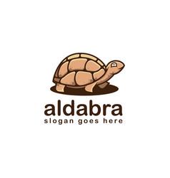 fun cheerful aldabra turtle cartoon mascot logo vector image