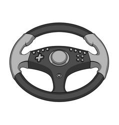 Game steering wheel single icon in monochrome vector