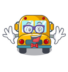 geek school bus character cartoon vector image