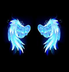 Glowing folded wings vector