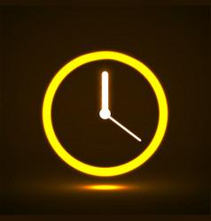 glowing neon clock with arrow icon symbol vector image