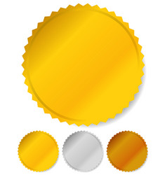 Gold silver and bronze badges starburst shapes vector