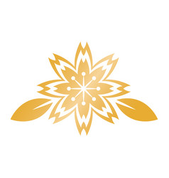 Golden flower leaves chinese decoration symbol vector
