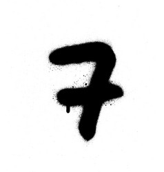 graffiti sprayed number 7 seven in black on white vector image