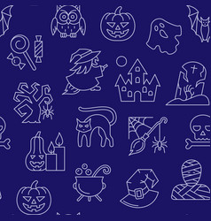 halloween seamless white line pattern vector image