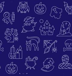 halloween seamless white line pattern vector image