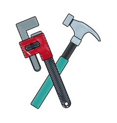 hammer and adjustable wrench tools repair vector image