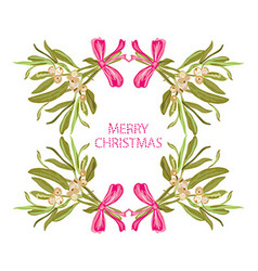 Hand drawn mistletoe frame vector