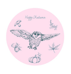 Hand drawn owls with autumn fruits and plants vector