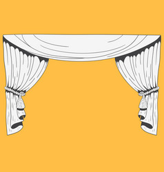 Hand drawn stage curtains on yellow background vector