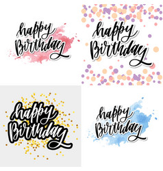 Happy birthday hand drawn lettering design on vector