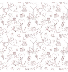 Happy birthday party greeting seamless pattern vector