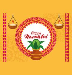 Happy navratri celebration with houseplant vector