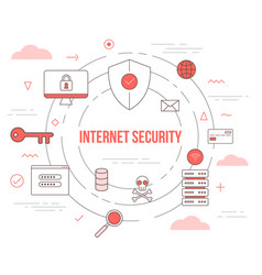 Internet security technology concept with icon set vector