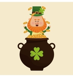 Leprechaun happy tossing gold pot vector