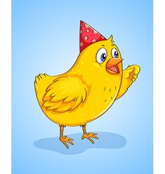 Little chick wearing a party hat vector image