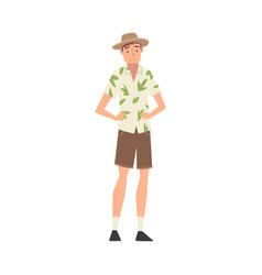 Male tourist wearing hawaiian shirt shorts and vector